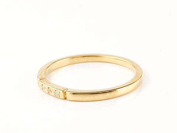 【送料無料】結婚指輪 マリッジリング ペアリング イエローゴールドk10 ダイヤモンド スイートペアリィー 結び リング 10金 華奢 ストレート まるで着けていない様な着け心地 極細ペアリング