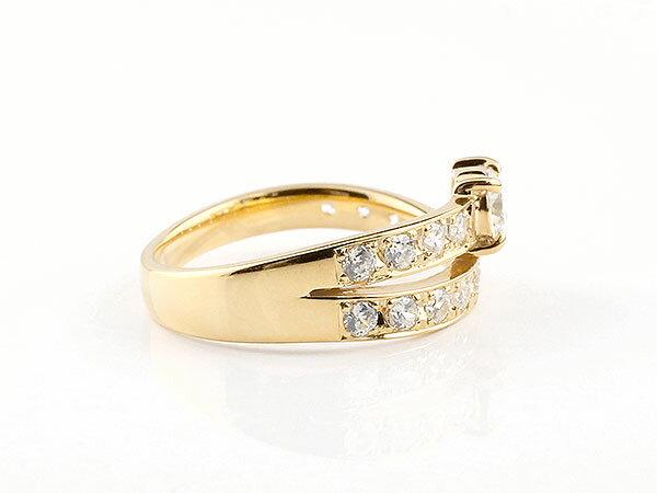 【送料無料】婚約指輪 エンゲージリング ダイヤモンド イエローゴールドk18 エタニティ リング エンゲージ 一粒 大粒 リング ダイヤ 18金 婚約指輪 一粒 大粒 ダイヤモンド