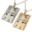 ショッピングハワイアン ハワイアンジュエリー ペアネックレス ペアペンダント クロス ネックレス プラチナ ピンクゴールドk18 18k ペンダント 十字架 ミル打ち ホーニング加工 18金