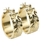 Jewelry, Accessories - メンズ ハワイアンジュエリー イエローゴールドk18 ピアス フープピアス 地金 18金 マイレ スクロール プルメリア シンプル 男性用