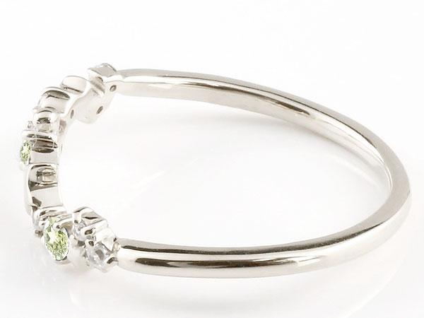 【送料無料】星 スター リング ペリドット ダイヤモンド ホワイトゴールドk18 ピンキーリング 指輪 華奢リング 重ね付け 18金 レディース 8月誕生石 贈り物 誕生日プレゼント ギフト 女性らしい華奢なフォルムがフェミニンな指先を演出