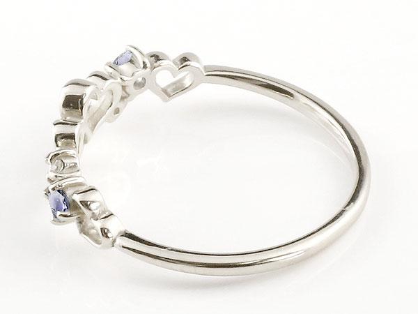 【送料無料】オープンハート リング アイオライト ダイヤモンド 指輪 ピンキーリング ホワイトゴールドk10 華奢リング 重ね付け 10金 レディース 贈り物 誕生日プレゼント ギフト 女性らしい華奢なフォルムがフェミニンな指先を演出