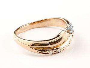 【送料無料】 アクアマリン リング 指輪 ダイヤモンド ダイヤ スパイラルリング ピンキーリング ピンクゴールドk18 18金 3月誕生石 ストレート ファッションリング 贈り物 誕生日プレゼント ギフト 2本のリングを付けているようなボリューム感