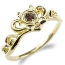 ショッピングピンキーリング 18金 リング レディース ガーネット 猫 指輪 ゴールド イエローゴールドk18 ティアラ リボン 婚約指輪 エンゲージリング ピンキーリング ネコ 送料無料