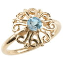 ショッピング09-10 18金 リング ゴールド ブルートパーズ レディース 指輪 ピンクゴールドk18 婚約指輪 エンゲージリング ピンキーリング アラベスク アンティーク 花