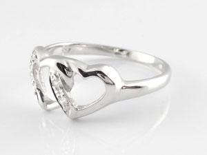 【送料無料】オープンハートダイヤモンド リング ピンキーリング 指輪 ホワイトゴールドk18 18金 ダイヤ 4月誕生石 贈り物 誕生日プレゼント ギフト 指輪 ゴールド シンプル 送料無料 手作り レディース 人気