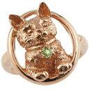 猫 リング ペリドット ピンキーリング 指輪 ピンクゴールドk18 18金 8月誕生石 ストレート 贈り物 誕生日プレゼント ギフト ファッション 妻 嫁 奥さん 女性 彼女 娘 母 祖母 パートナー 送料無料