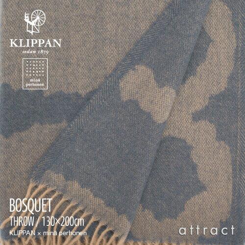 KLIPPAN クリッパン Home Collection minä perhonen ミナ ペルホネン BOSQUET ブランケット フリンジ付き 130×200cm(ブルー×ベージュ)