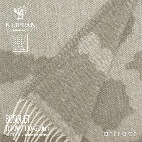 KLIPPAN クリッパン Home Collection minä perhonen ミナ ペルホネン BOSQUET ブランケット フリンジ付き 130×200cm(グレー×ホワイト)