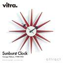 ヴィトラ Vitra Sunburst Clock サンバーストクロック Wall Clock ウォールクロック 掛け時計 デザイン:George Nelson ジョージ・ネルソン カラー:レッド デザイナー パントン イームズ 【RCP】【smtb-KD】