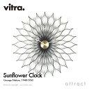 ヴィトラ Vitra Sunflower Clock サンフラワークロック Wall Clock ウォールクロック 掛け時計 デザイン:George Nelson ジョージ・ネルソン カラー:ブラック デザイナー ビトラ パントン イームズ 【RCP】【smtb-KD】