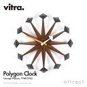 ヴィトラ Vitra Polygon Clock ポリゴンクロック Wall Clock ウォールクロック 掛け時計 デザイン:George Nelson ジョージ・ネルソン カラー:ウォルナット デザイナー ビトラ パントン イームズ 【RCP】【smtb-KD】