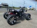 新車 ATV  バギーカスタム 14インチ マフラーがレッドです。