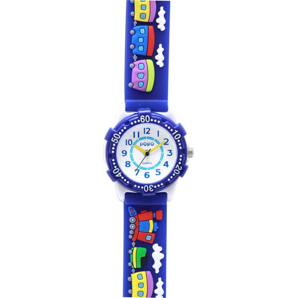 J-AXIS ジェイアクシス 送料無料  腕時計 キッズ 男の子 女の子 デコウォッチ キッズウォッチ 子供 時計TCL22-BL 汽車 ブルー サンフレイム