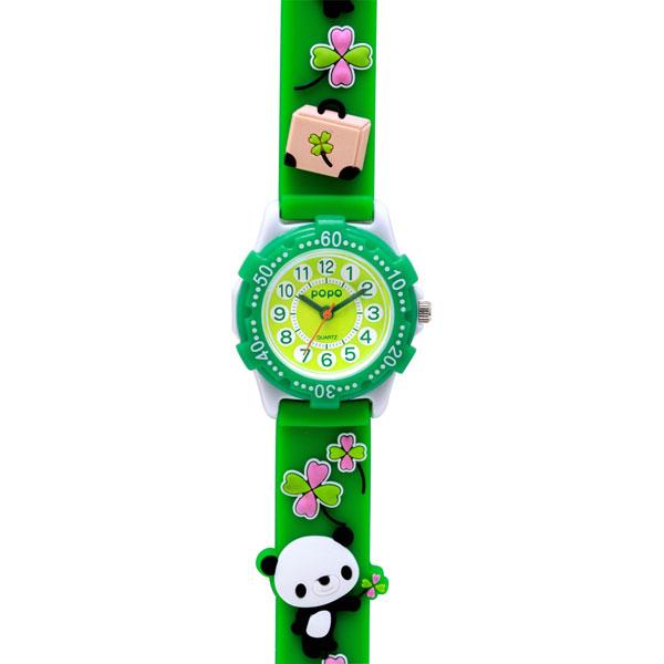 J-AXIS ジェイアクシス 送料無料  腕時計 キッズ 男の子 女の子 デコウォッチ キッズウォッチ 子供 時計 TCL25-GR パンダ グリーン サンフレイム