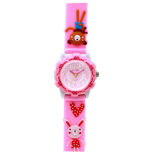 J-AXIS ジェイアクシス 送料無料  腕時計 キッズ 女の子 デコウォッチ キッズウォッチ 子供 時計TCL25-PI うさぎ ピンク サンフレイム