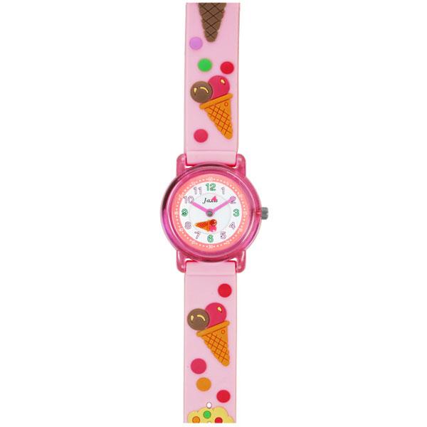 J-AXIS ジェイアクシス 送料無料  腕時計 キッズ 女の子 デコウォッチ キッズウォッチ 子供 時計 TCL53 アイスクリーム ピンク サンフレイム