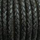 本革 革紐編みこみ革ひも 革紐5cm単位の価格【太さ:約5.0mm/ブラック】