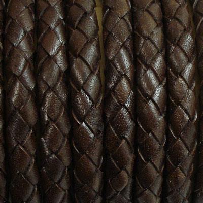 本革 革紐編みこみ革ひも・革紐5cm単位の価格【太さ:約5.0mm/ダークブラウン】