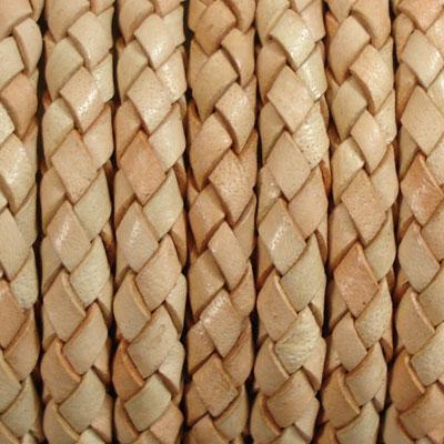 本革 革紐編みこみ革ひも・革紐5cm単位の価格【太さ:約5.0mm/ナチュラル】
