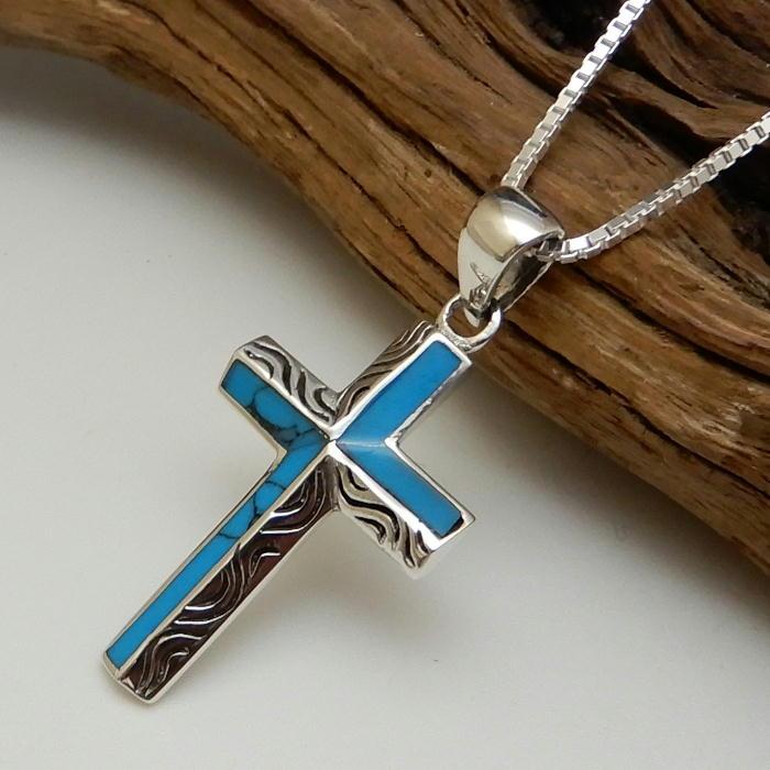 ターコイズ ネックレス シルバーネックレス クロスネックレス 十字架ネックレス トルコ石 ネックレス シルバー925 メンズネックレス ターコイズネックレス メンズアクセサリー