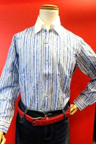 【バラシ】【barassi】【カジュアルシャツ】【春夏アウトレットセール35%OFF】【メンズ】【イタリアンカラー】【スナップダウンシャツ】【メンズファッション】【バラシ服】 イタリアンカラースナップダウンシャツ ブルー
