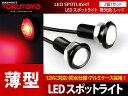 【薄型】ボルト型 2本x1.5W 防水 LEDスポットライト アルミ黒 赤