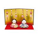 リュウコドウ おすまし福雛 花屏風付 雛人形 ひな人形 親王飾り 平飾り 1-672