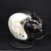 バブルミラーシールド付 YAMAHA V-335 DESIGN グラフィックジェットヘルメット アイボリー Lサイズ 送料無料