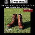 KIWI MINK OIL(15g)付 WILD WING ライダーズリングブーツ 厚底ファルコン(隼)WWM-0001ATU ダークブラウン 送料無料