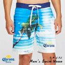 【送料込み】【Corona Extra メンズ水着(PALM TREE/ボーダー)】人気のメキシカンビールコロナエキストラ サイズS/M/L/XL 海パン・スイムウェア大人男性用