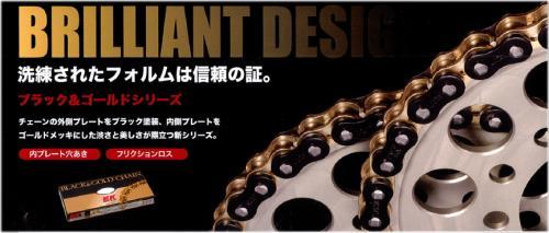 【EK】【江沼チェーン】 525SRX (BK:GP) 525-110L ブラック&ゴールド QXリングチェーン 購入金額¥10.000以上で全国送料無料バイクパーツならアイネットへ【真新しいです】