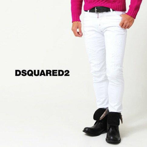 ディースクエアード / DSQUARED2 / ディースクエアード ジーンズ / SEXY TWIST JEAN / 立体デニム / ダメージ&リペア加工 ホワイトデニムパンツ S74LA0812