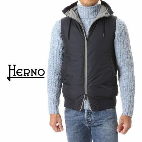 HERNO / ヘルノ メンズ ダウンベスト フーテッド リバーシブルダウンベスト pi0283u-9492 ライトグレーxネイビー