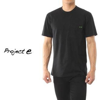 [在訪問期間半價專案 ! 樂天超級銷售] 專案 e 專案 e 圓領口袋短袖 T 恤損傷處理黑色 mtp 黑色
