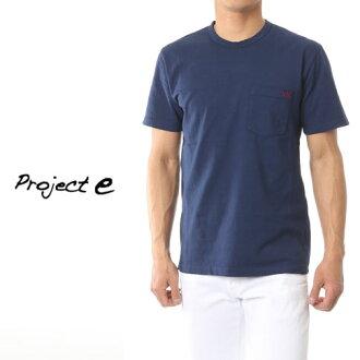 [在訪問期間半價專案 ! 樂天超級銷售] 專案專案 e e 圓領口袋短袖 T 襯衫損傷處理海軍 mtp 海軍