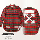 Off-White オフホワイト CHECK SHIRT + RIPS RED CHECK ALL OVER WH ダメージ加工 シャツ プリント レッドチェック OMGA034f173290079901