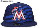 NEW ERA MIAMI MARLINS 【2015 JULY 4TH STARS N STRIPES/NAVY】 ニューエラ マイアミ マーリンズ オンフィールド 59FIFTY フィッテッド キャップ FITTED CAP 星条旗 STARS&STRIPES ネイビー 紺 [帽子 スターズアンドストライプス 17_3_2 17_3_3 17_3RE]