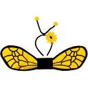 ビー・ミツバチ・アクセサリー・キット ウィング&ヘッドピース 子供女性用 イエロー&ブラック