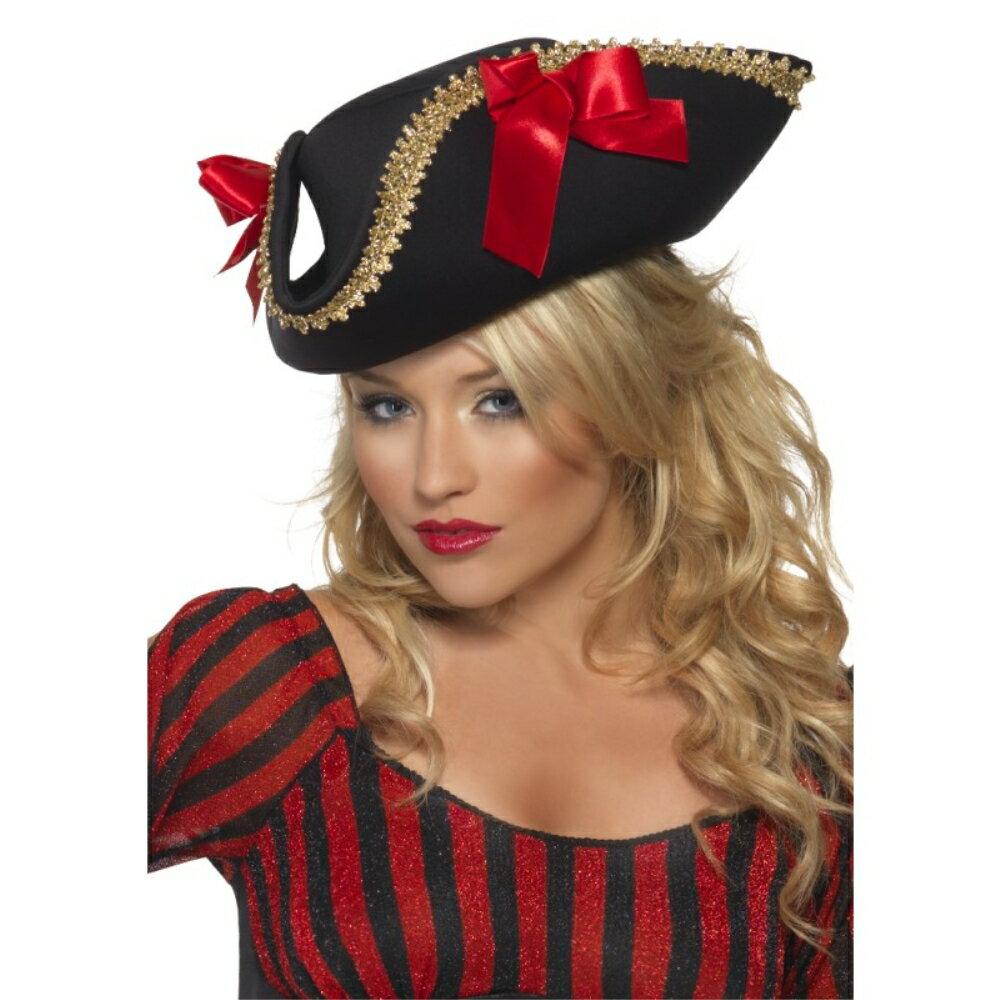 海賊帽子 黒 リボン 大人女性用 Fever Pirate Hat:アメリカンコスチューム楽天市場店