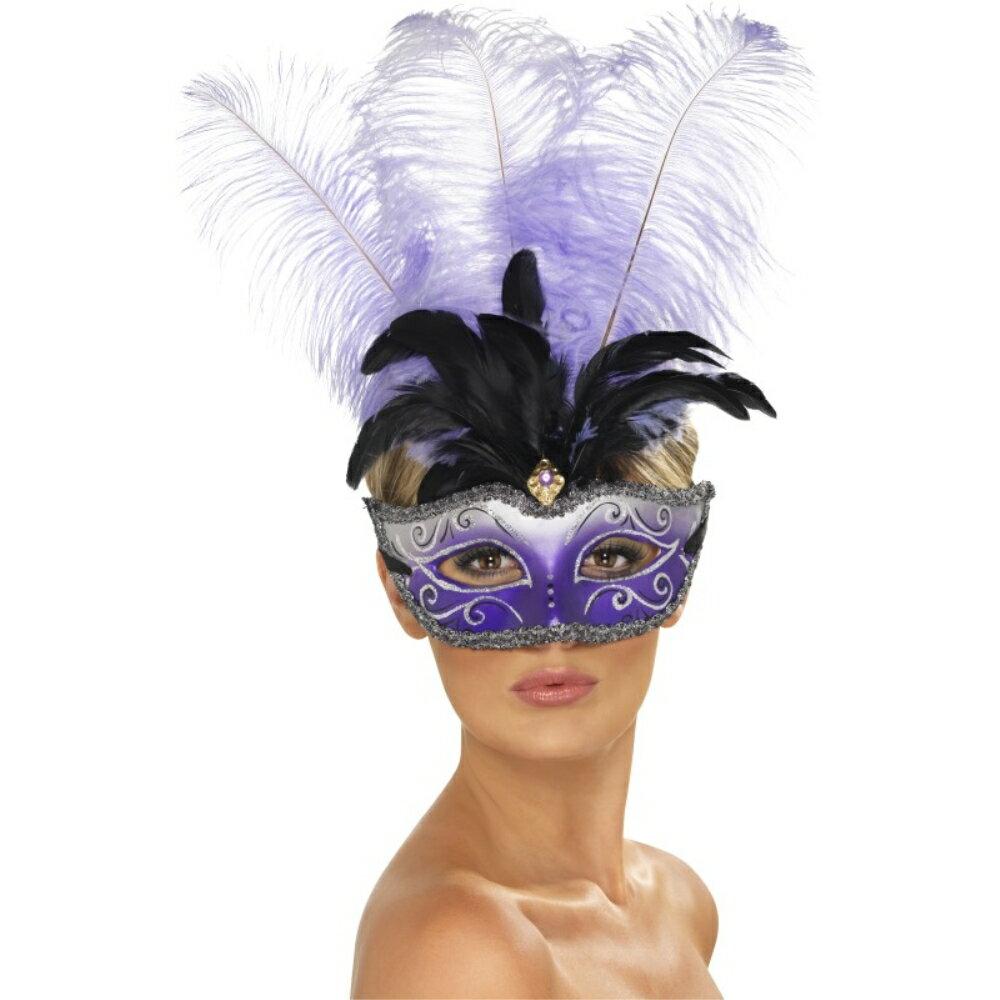 ベネチアンマスク紫黒パーティー大人女性用VenetianColombinaEyemaskコスプレ