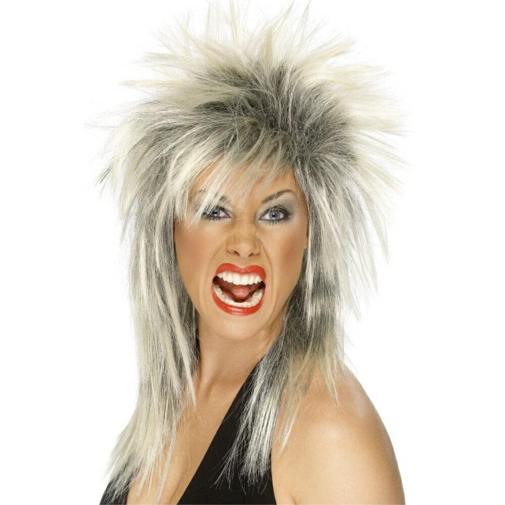 ウィッグブロンド黒ロックシンガー風カツラロングマレットツートン大人女性用RockDiva