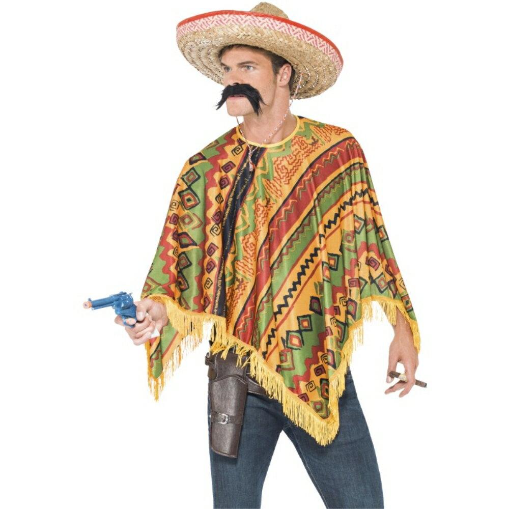 メキシコ人衣装、コスチュームポンチョ大人男性用PonchoInstantKit