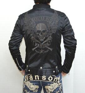 バンソン ボンディング シングル ライダース ジャケット フライング ブラック
