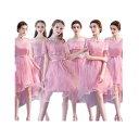 女裝 - あずき色 6デザイン パーティードレス ワンピース二次会演出司会ブライズメイドドレス結婚式お呼ばれ ミモレ丈 ミディアムドレス ブライズメイド ドレス フォーマルドレス 後下がり