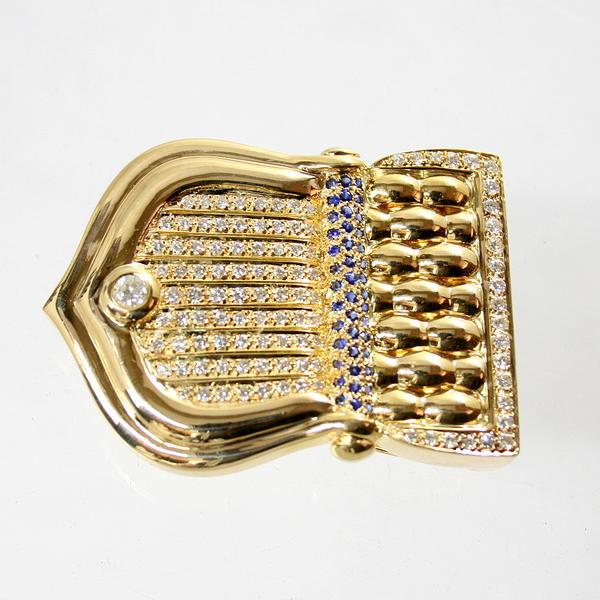 【中古】 18金 サファイア&ダイヤ バックル 新品クロコダイルベルト付き