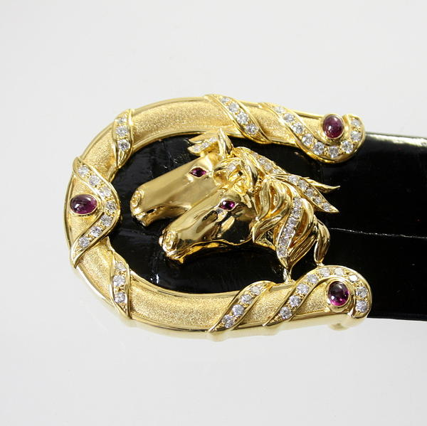 【中古】 18金 ルビー&ダイヤ 馬デザイン バックル 新品クロコダイルベルト付き
