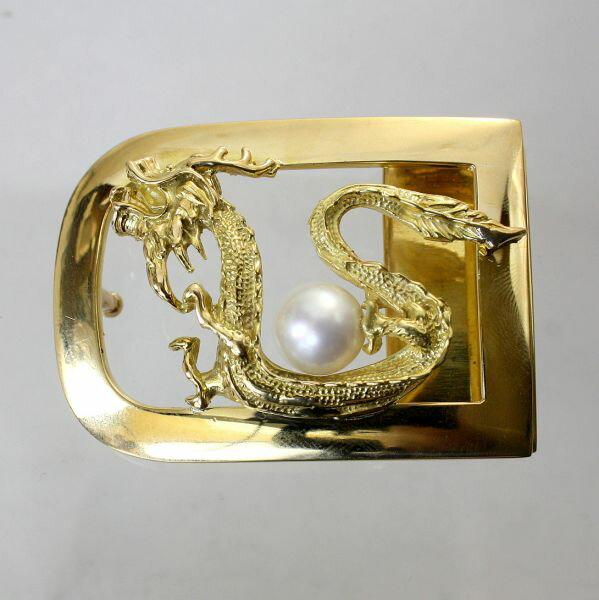 【中古】 18金 真珠付 龍彫 バックル 新品クロコダイルベルト付き