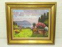 【中古】 額装 ボレラ 夕暮れ 油絵 風景 海辺 庭 花     洋風 Andrea Borella 洋画家 イタリア キレイな色
