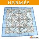 レア物!稀少品!【送料無料】【送料込】HERMES エルメスカレ90 スカーフMonnaies et Symboles des Parisライトブルー シルク100%レ…